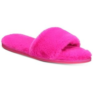 INC Faux Fur Slide Slippers Fuchsia Pink XL 11 12